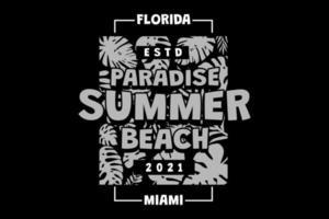 T-shirt paradise summer beach miami florida retro vintage style vector