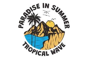 T-shirt paradise in summer, tropical wave hand drawn vintage retro style vector