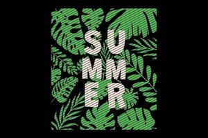 camiseta hoja verano hojas verdes estilo retro vintage vector
