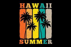 T-shirt hawaii summer palm tree sunset color retro vintage style vector