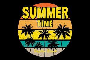 T-shirt summer time tropical beach retro vintage style vector