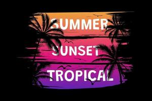T-shirt summer sunset tropical retro vintage brush style vector