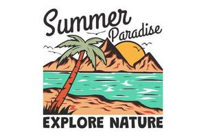 T-shirt summer paradise explore nature beach hand drawn retro vintage style vector