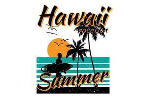 T-shirt hawaii vacation summer beach surf retro vintage style vector