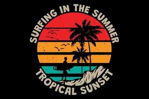 T-shirt surfing in the summer tropical sunset retro vintage style vector