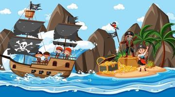 escena de la isla del tesoro durante el día con niños piratas en el barco vector