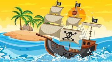 Océano con barco pirata en la escena del atardecer en estilo de dibujos animados vector
