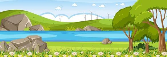 Forest panorama landscape scene with river through the park vector