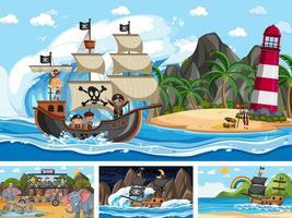 Conjunto de diferentes escenas con barco pirata en el mar y animales en el zoológico. vector
