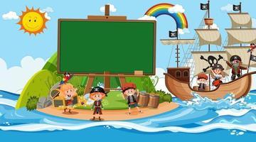 Plantilla de banner vacío con niños piratas en la escena diurna de la playa vector