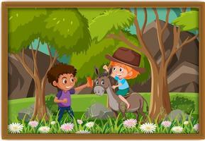 Happy kids playing with donkey photo in a frame vector