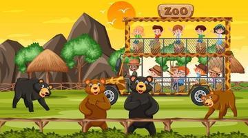 safari en la escena de la puesta del sol con muchos niños viendo el grupo de osos vector