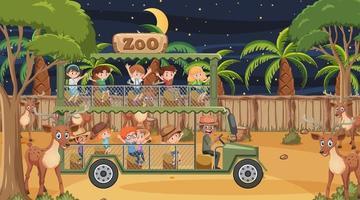 Safari en escena nocturna con niños viendo grupo de ciervos. vector