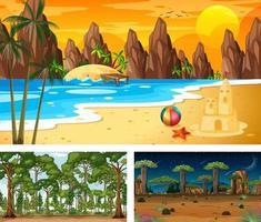 tres escenas de paisajes naturales diferentes. vector