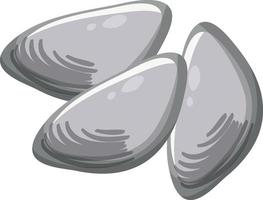 Oysters or clams in cartoon style on white background vector