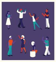 people of business in different faceless poses vector