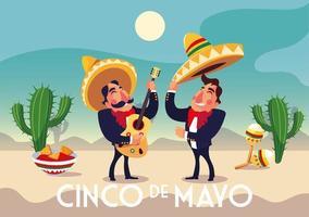 holiday cinco de mayo with men in suit mariachi vector