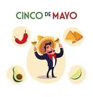 mexican mariachi with set icons of the cinco de mayo vector