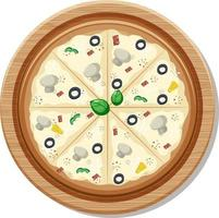 Top view of a whole vegan pizza on wooden plate isolated vector