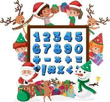 Number 0 to 9 and math symbols on banner with many kids doing different activities vector