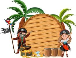Two pirates cartoon character with an empty banner isolated on white background vector