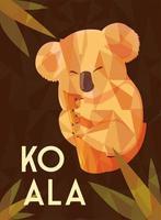 card of cute australian Koala on a tree vector