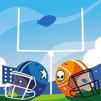 football stadium with helmets, super bowl vector