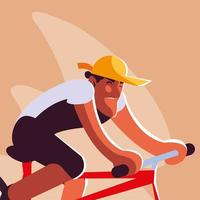 man with bicycle, man with healthy lifestyle vector