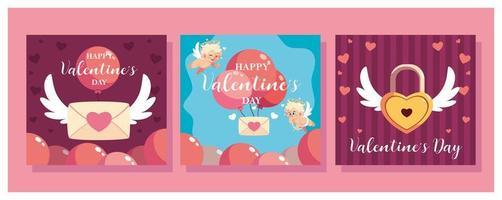 conjunto de tarjetas para el día de san valentín vector