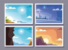 four scenes with nature landscape and beautiful fields vector