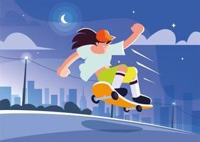 joven, andar en patineta, aire libre vector