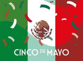 label cinco de mayo with mexican flag vector