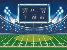 soccer field with scoreboard, football stadium vector