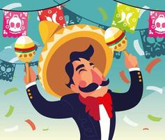 Mexican mariachi with maracas, typical musical instrument vector