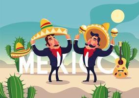 men mariachi with label mexico vector