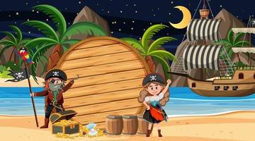 Pirate kids at the beach night scene with an empty wooden banner template vector