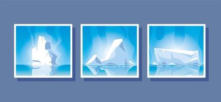 set of iceberg or drifting arctic glacier vector