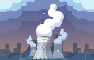 Nubes de humo industrial en el paisaje de la ciudad, contaminación ambiental del reactor nuclear vector