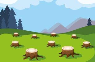 tocones de árboles que muestran deforestación, desastre ambiental vector