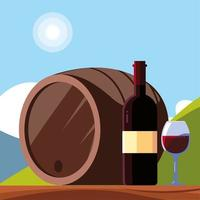 wine bottle with wineglass, national wine day vector