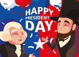 happy president day, cartoon of president George Washington and Abraham Lincoln vector