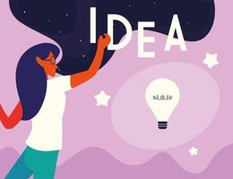 businesswoman with light bulb, people and ideas vector