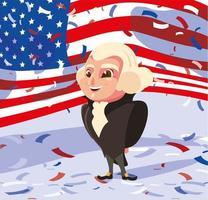 president george washington with flag usa , president day vector