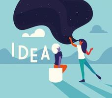 businesswomen with idea label, people and ideas vector
