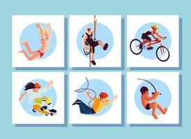 Conjunto de tarjetas de personas en actividades deportivas. vector