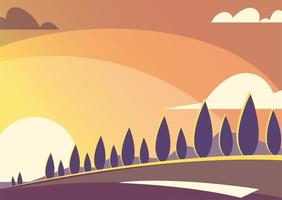 nature landscape with beautiful sunset vector