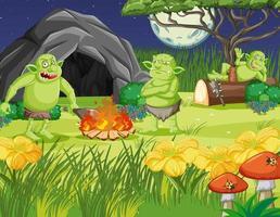 Night scene with goblin or troll cartoon character vector