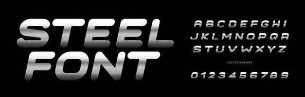 Conjunto de números y letras de acero. Alfabeto de estilo de textura de metal pulido. fuente para eventos, promociones, logotipos, banner, monograma y cartel. diseño de tipografía vectorial. vector