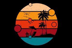 T-shirt summer beach sunset retro vintage style vector