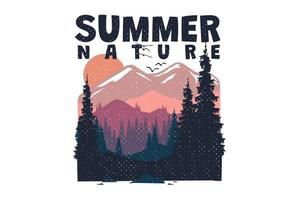 T-shirt summer nature landscape hand drawn vintage style vector
